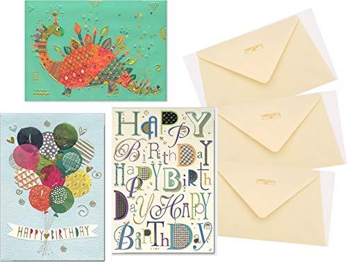 Set aus 3 Glückwunschkarten zum Geburtstag - hochwertige Geburtstagskarten von Turnowsky (Motive: Dinosaurier mit Kerzen, Luftballons mit Happy Birthday Schriftzug und bunte Happy Birthday Schriften)