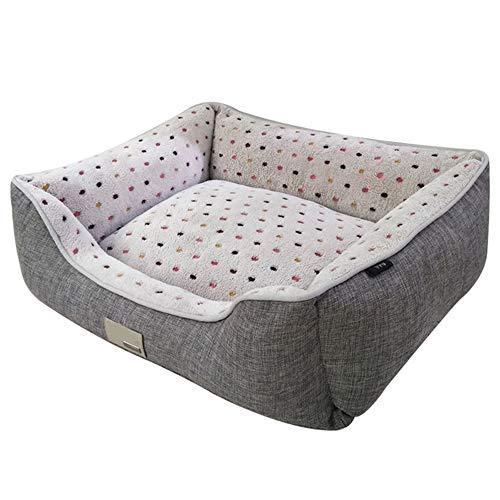 Hundebett, abnehmbar und waschbar, kleine mittlere und große Hunde, graues Luxus-Hundebett mit farbigem Punktmuster,Gray,S