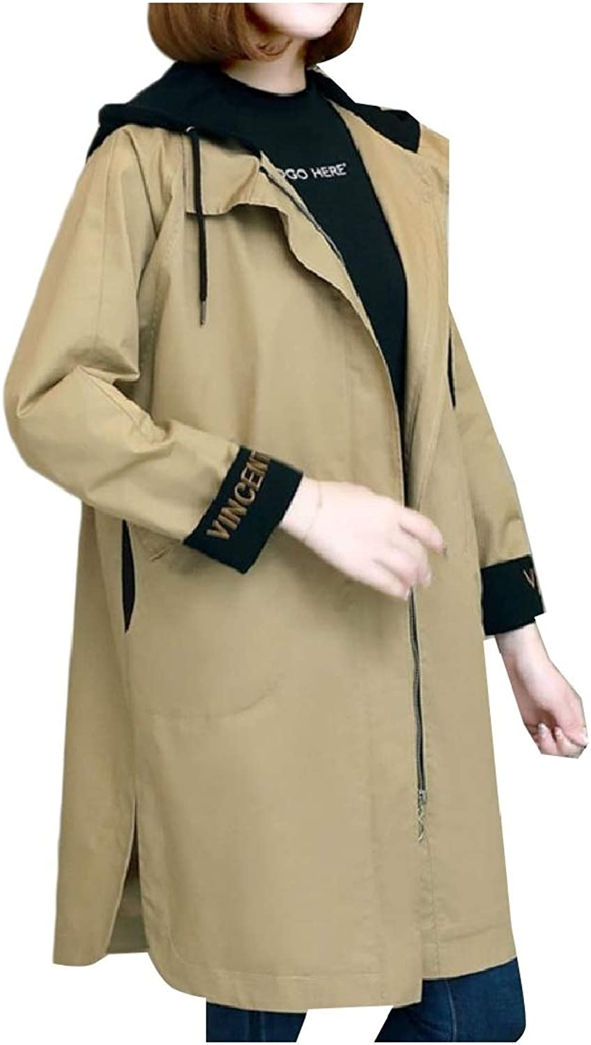Cobama Womens PlusSize Hoodie Loose Zip Up Trench Coat Jacket Clothes