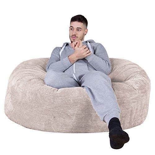 Lounge Pug®, \'Mammoth\' Sofa Sitzsack XXL, Riesen Sessle, Pom-Pom Creme