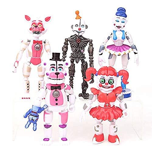 5 Unids/Lote FNAF Five Nights At Freddys Freddy Toys Bonnie Foxy Fazbear Bear con luz LED PVC Joint Figuras movibles Juguetes 13-16cm