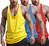 COOFANDY Men's Gym Stringer Y-Back Tank Tops 3 Pack Workout Muscle Tee Fitness Bodybuilding Training Sports Sleeveless T Shirt