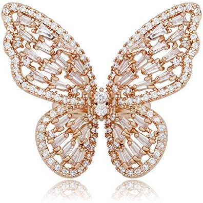 GUCY Adjustable Butterfly Rings Cubic Zirconia Rings Gold Rings for Women rose gold product image