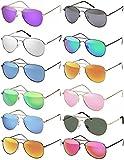 Hatstar Pilotenbrille Verspiegelt Fliegerbrille Sonnenbrille Brille mit Federscharnier (91 | Rahmen Schwarz - Braun)