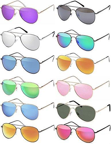 Herren Pilotenbrille Verspiegelt | Damen Sonnenbrille | Unisex Brille mit Federschrnier | UV400 Schutz Filter Kat. 3 CE (79 | Rahmen Silver - Glas Blau verspiegelt)