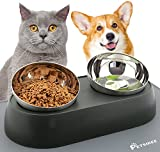 Elevated Cat Food Bowls with Silicone Feeding Mat for Cats, Kittens, Small Dogs - Anti-Stress Raised Stainless Steel Pet Bowl Dishwasher-Safe Food & Water Dish Slow Feeder for Whisker Fatigue