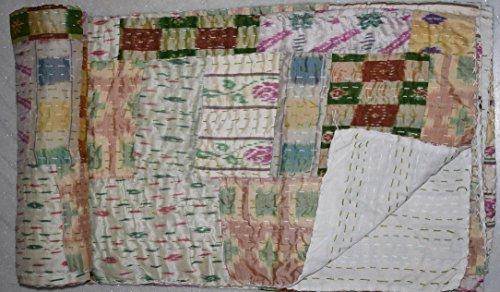 Tribal Asian Textiles Indische Patola-Seiden-Steppdecke, Kantha-Decke, Tagesdecke, Doppelbett, Patchwork, Beige