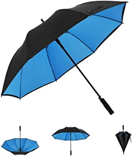 Super Double Umbrella Male Double Three-Person Automatic Business Long Handle Umbrella Windproof Reinforcement Straight Handle HYBKY (Color : Blue, Size : Diameter130cm)
