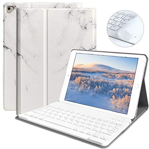 iPad Keyboard Case for iPad 9.7 2018 (6th Gen) iPad 2017 (5th Gen) iPad Pro 9.7 iPad Air 2 & 1 Detachable Bluetooth Keyboard Magnetic Auto Sleep/Wake(Marble White)