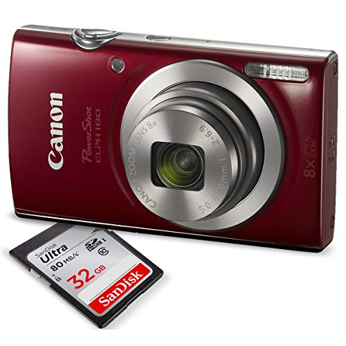 Canon PowerShot ELPH 180 Digital Camera (Red) w/...