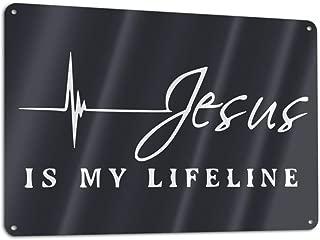 Jesus is My Lifeline Metal Tin Sign Board Plate Garage Home Wall Bar Man Cave Decor 7.8X11.8 INCH