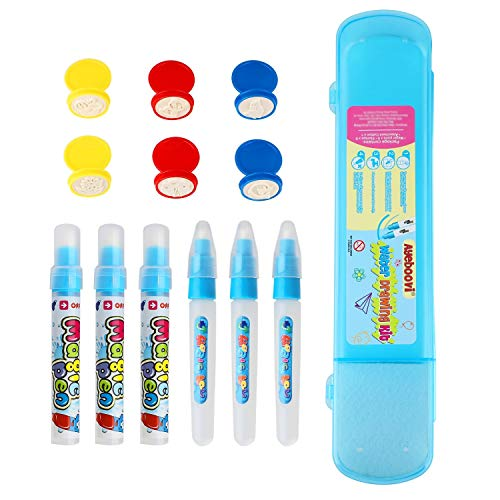 Ayeboovi Water Doodle Pens Water Mat Pens for Water Drawing Mat in 6 Pieces with 6 Stamps and 1 Storage Case