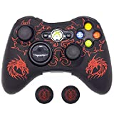 BRHE Cool Silicone Protector Cover Case Anti-Slip Soft Comfort for Xbox 360 Controller Skin (Red)