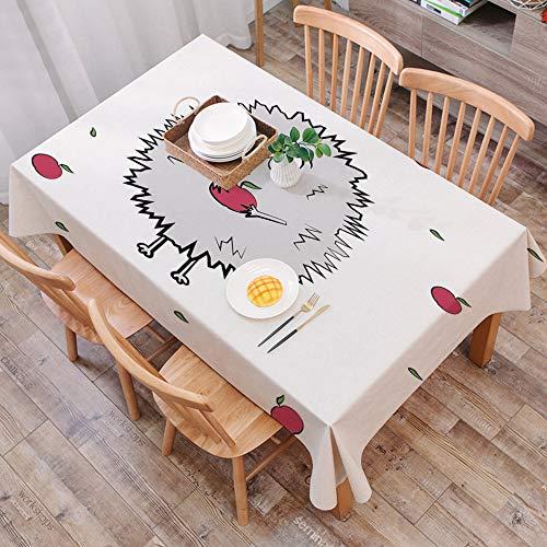 Tischdecke abwaschbar 140x200 cm,Igel, Happy Animal Äpfel und Blätter Doodle-Stil Cartoon Zeichnung Spaß Illustration Dekorativ, Gra,Ölfeste Tischdecke, geeignet für die Dekoration von Küchen zu Hause