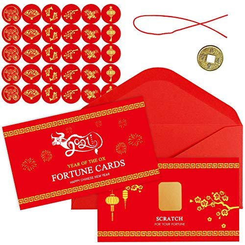 Winlyn 28 Sets Chinese New Year Fortune Cards with Red Envelops Chinese Coins Chinese Stickers Scratch Off Fortune Games Gifts for Kids Chinese Lunar New Year Spring Year of The OX 2021 Party