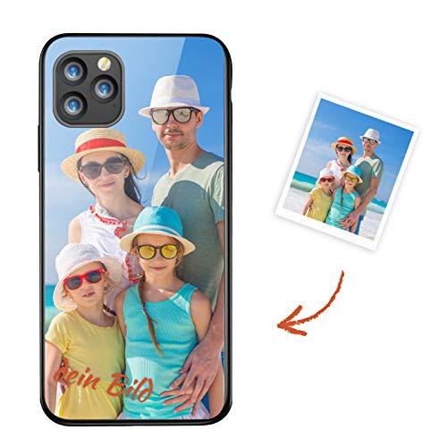Qinin Personalisierte Hülle mit Eigenem Foto Bedrucken für Samsung Galaxy S9 Plus, Handyhüllen Zum Selbst Gestalten, Kratzfest Gehärtetes Glas Case mit Weichem TPU Silikon Rahmen Schutzhülle