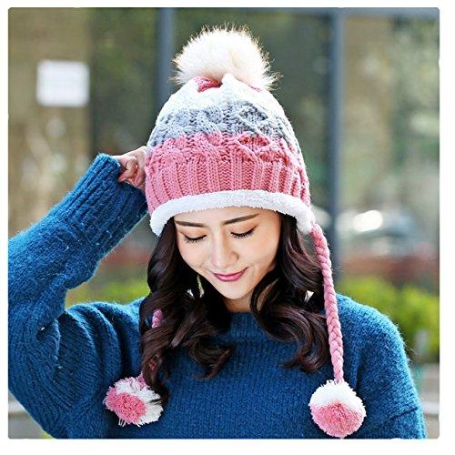 ECYC® Bonnet Tricoté Pom Pom Beanie pour Femmes Doublure Bonnet Skullies, Rose