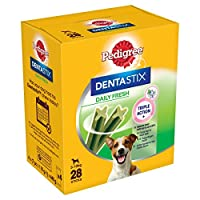 Triple action with Pedigree Dentastix Fresh: reduces tartar build-up by up to 80%, cleans hard to reach teeth, supports healthy gums and freshens breath Designed for your large four-legged friend, packed with dog-friendly ingredients and a great tast...