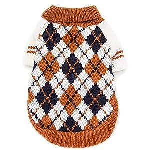 Chen0-super pour Chien ou Chat Hiver Chaud Pull Chaton en Tricot Manteau de vêtements d'hiver Vêtements d'automne et d'hiver Style Britannique Diamond Plaid