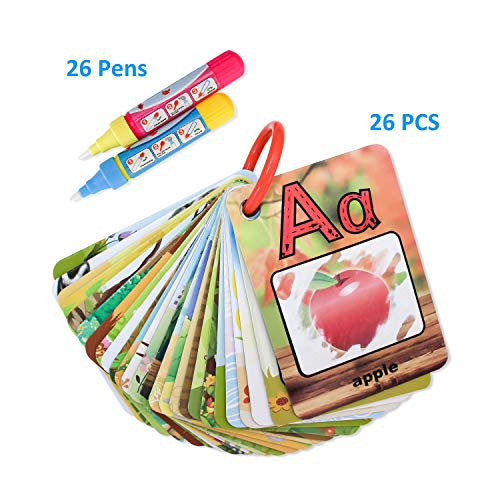 Kingseye Water Painting Graffiti Book Card 26 Letters Children's Early Education Cognitive Cards ABC Alphabet Word Colouring Doodle Board + 2 Magic Drawing Pens Games Toy for Toddlers Kids Baby