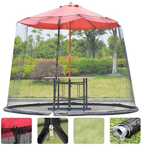 Paraguas de jardín al aire libre Su sombrilla en un gazebo Jardín Cubierta de mosquitos NET Patio Pantalla de paraguas con zipper Dooroles para interiores y exteriores, Camping (Color: Negro, Tamaño: