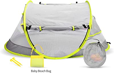 belupai Portable Baby Bed,Travel Folding Baby Crib,Summer Baby Cots Newborn Foldable Crib with Mosquito Net for 0-24 Month Pink