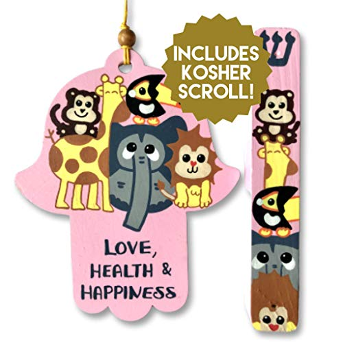 Jewish Baby Gift Set, Hamsa and Mezuzah with KOSHER Scroll, Baby Girl Naming Gift, Birthday or Bat Mitzvah