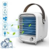 Aire Acondicionado Portátil, mixigoo Mini Aire Refrigerador Enfriador de Aire USB 3 en 1 Personal Enfriador de Aire Purificador de Aire Humidificador LED Luz de la Noche Enfriador USB