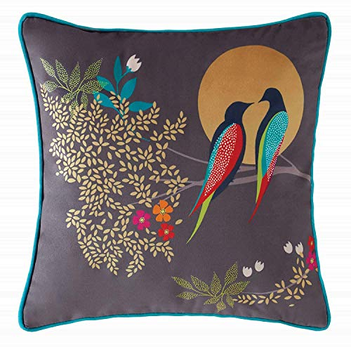 Sara Miller Green Birds Duvet Cover Set & Matching Cushions, Birds at Dusk Cushion 30cm x 30cm