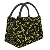Bolsas de almuerzo reutilizables de trombón negro y amarillo, con aislamiento, caja de comida, preparación para hombres, mujeres, escuela, trabajo, oficina, picnic, viajes
