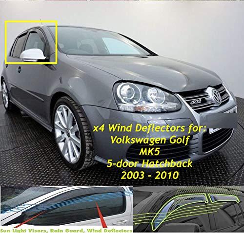 Set di 4 deflettori d\'aria realizzati per VW Volkswagen Golf 5 MK5 5 porte Hatchback 2003 2004 2005 2006 2007 2008 2009 Parapioggia laterale