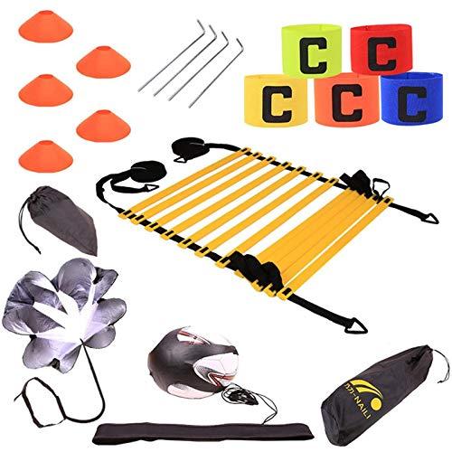 Tebery, set di cono per scaletta agilità e coni, resistenza per corsa, paracadute, coni sportivi, picchetti in metallo e borsa per il trasporto, cintura da allenamento