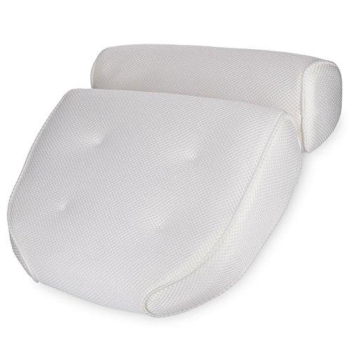 Navaris Badewannen Kissen Badekissen aus Mesh - Wannenkissen Kopfkissen Nackenkissen Badewannenkissen - Öko Tex Standard 100 - Anti Rutsch in Weiß