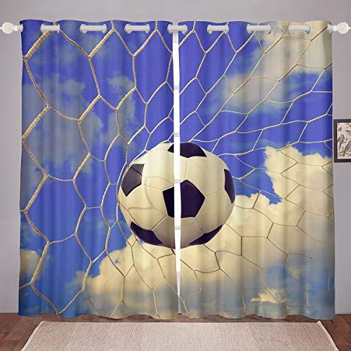 Loussiesd Cortina de fútbol con diseño de pelota de fútbol para niños, para adultos, para ventanas, tratamientos, decoración de la habitación, red de fútbol, geometría, azul W46 x L54