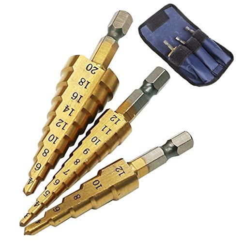 Juego de brocas de 3 piezas para taladros de cono con núcleo hexagonal de metal recubierto de titanio, 32 mm, 3 unidades, Federación de Rusia, 3 unidades 4-12 3-20 4-20