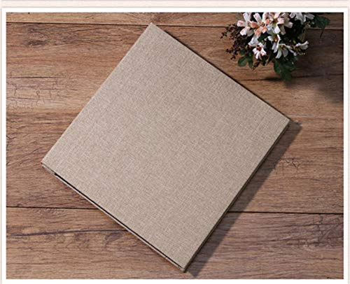yamybox Linen 16 Inch DIY Album Lovers Birthday  Wedding Photo Baby Album Scrapbook Paper Crafts Album Sticky Family Memory Record Album Home Decoration Art Photo Album,Color,Brown - Black Page