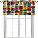 Elementos de cenefa para ventana de cocina, collage en cuadrados coloridos, figuras simbólicas aborígenes de 127 cm de ancho x 45 cm de largo, cenefa de ventana para dormitorio, multicolor