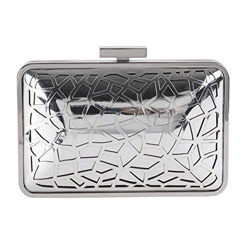 Anna Cecere - tas, clutch, Celine zilver, gesatineerd metaal - ACACA026SILVE