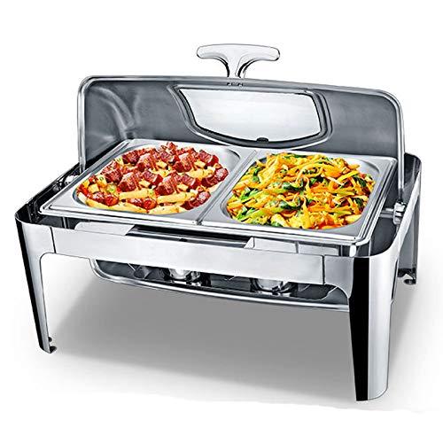 DBMGB Buffets Chauffants,9L Chafing Dish Chauffe-Plat Electrique de Table, Chauffe Plat Traiteur pour Toute Fête - Économisé Beaucoup de Repas, Rectangulaire