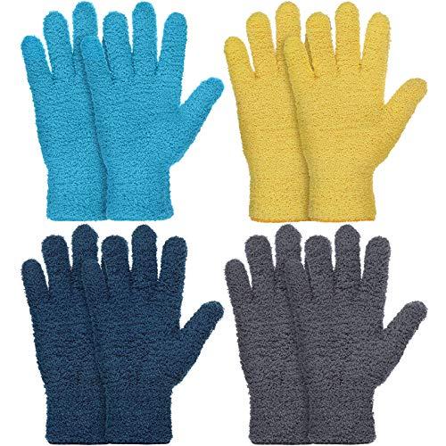 4 Paare Mikrofaser Auto Abstauben Reinigung Fäustlinge Handschuhe Wiederverwendbar Abstauben Fäustlinger (Gelb, Grau, Blau, Dunkelblau)