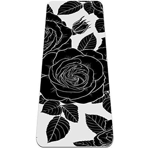 Hermosas rosas negras, esterilla de yoga antideslizante TPE Eco Friendly Anti-Tear Yoga Esterillas para Mujeres Fitness Mat para Pilates con correa de transporte
