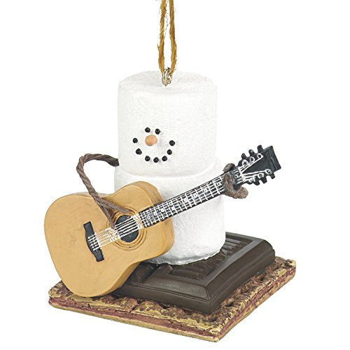 Snowman Ornament - Marshmallow Snow Man Playing Guitar On S'mores Chocolate and Graham Cracker - Holiday Christmas Tree Decor