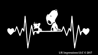 UR Impressions MWht Snoopy and Woodstock Heartbeat Decal Vinyl Sticker Graphics for Car Truck SUV Van Wall Window Laptop|Matte White|7.5 X 4 Inch|URI294-MW