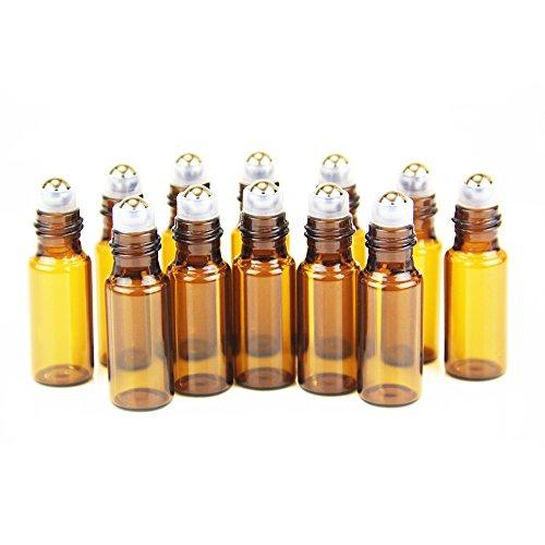 Yizhao Ambar Botellas Roll On Cristal para Aceites Esenciales 5ml, con Roll-on Bola de Acero Inoxidable, para Aceites Esenciales, Masajes, Aromaterapia, Botella de Laboratorio – 12 Pcs