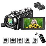 Caméscope Caméra Vidéo MELCAM Caméra Numérique FHD 1080P 30FPS 24MP Caméscope Numérique avec Zoom Numérique 16X à Écran Rotatif de 3 Pouces à 270 Degrés avec Télécommande et 2 Batteries Rechargeables