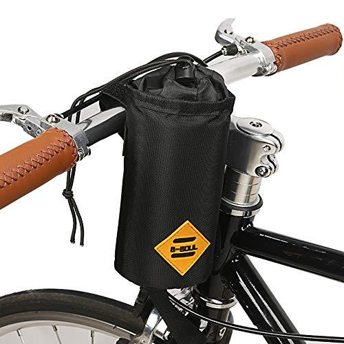 VOANZO Borsa portaborraccia per Bici, Borsa Bici isolata con Telaio Triangolare Stabile e Design del Manubrio, per Accessori Bici 170 x 80 x 80 mm (Nero)