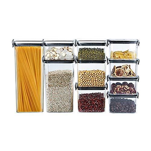 JIAYU Caja De Almacenamiento De Alimentos Caja Sellada De Conservación De Alimentos 10 Piezas Tarro De Almacenamiento De Cocina Transparente, Adecuado para Almacenamiento De Aperitivos De Cereales
