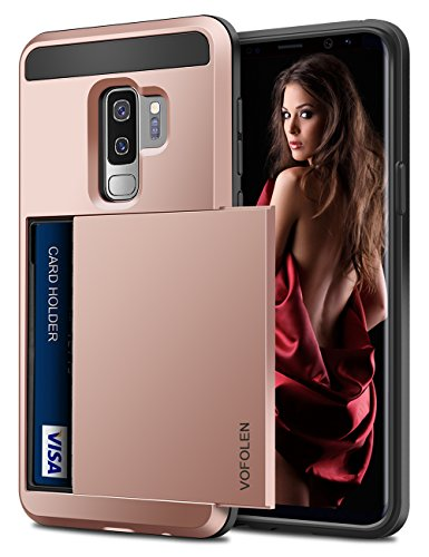 Vofolen Sliding Cover for Galaxy S9 Plus Case Wallet Credit Card Holder ID Slot Hidden Pocket Heavy Duty Protection Rugged Bumper Protective Hard Shell Armor Case for Samsung Galaxy S9 Plus Rose Gold
