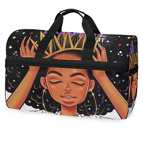 African American Woman Travel Duffel Bag Luggage Sports Gym Bag With Shoes Compartment Large Capacity Lightweight Duffle Bag For Men Women(7rh7b)