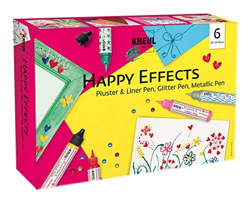 Kreul 49832 - Happy Effects Set, 6 Verzier- und Effektfarben, 3 Pluster & Liner Pens, 2 Glitter Pens und 1 Metallic Pen, zum kreativen Gestalten für Kinder und Erwachsene